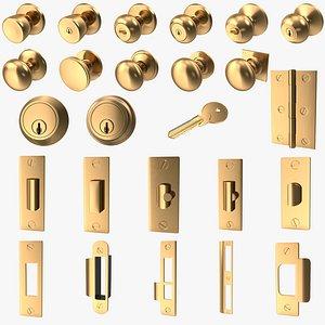 Golden DoorKnob Lock Key Latch Hinge Collection V01 3D model