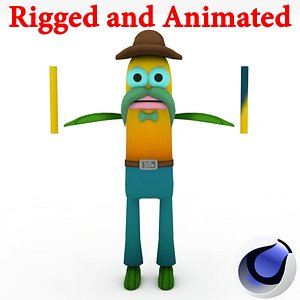 3D Fish Character Rigged and Animated model