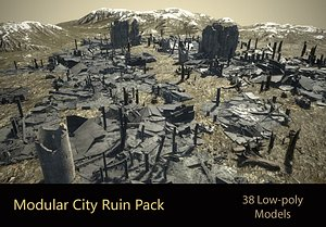 low-poly city ruins model