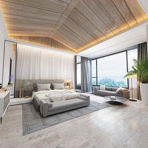 3D interior scene bungalow bedroom model