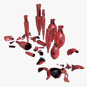 3D model amphoras oil terracotta red