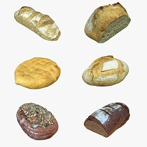3D loaf bread food