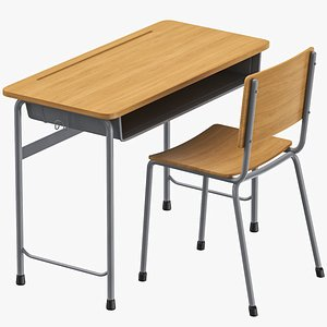 Classroom Desk And Chair 3D model