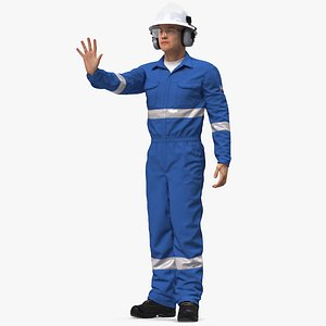 3D model Oil Gas Worker Fully Equipped Rigged for Modo