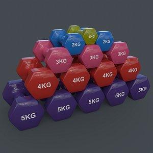 PBR 1-5KG Women Hexagon Dumbbell V1 3D model