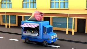Cartoon sweet car car vehicle C4D model poster Ice cream model