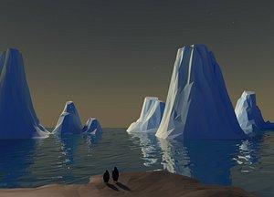 low poly glaciers model