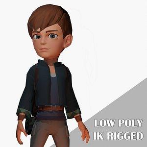 Stylized adventurer boy cartoon character 3D model