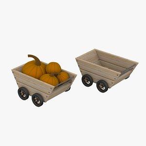 3D Wood Trolley With Pumpkin model