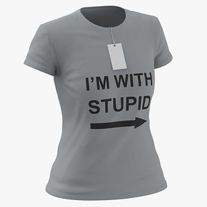 Female Crew Neck Worn With Tag Gray Im With Stupid 01 3D model