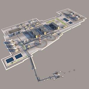 lng plant oil terminal 3D model