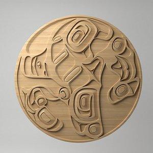 3D northwest coast art circular