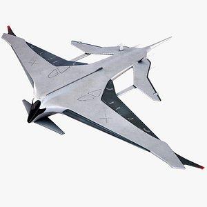 Sci-Fi Futuristic Manta Plane Concept PBR 3D