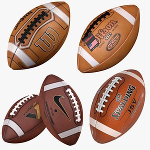 American Football Ball Collection 3D model