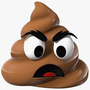 3D model Frowning Face Poop Emoji Smile