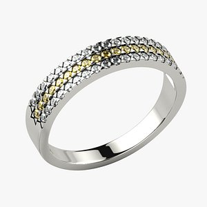 Triangle Pattern Prongs Gold Ring 3D