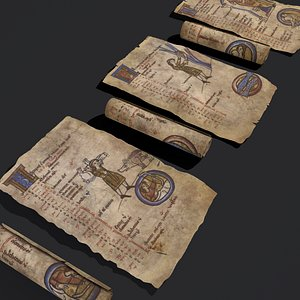 Manuscripts Pages and Scrolls 3D