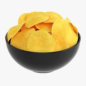 Potato chips in bowl 02 3D