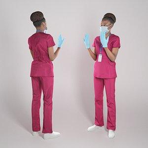 3D African nurse ready for surgery 287