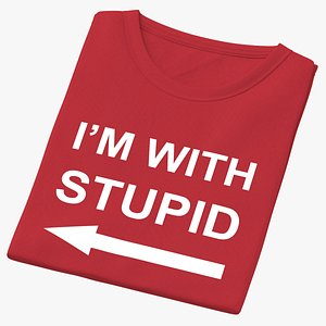 Female Crew Neck Folded Red Im With Stupid 01 3D