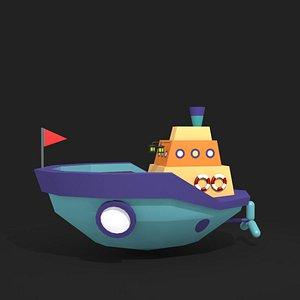 low poly cartoon boat 3D