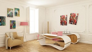 3D premium office workplace model