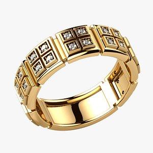 3D Quad Shapes Gold Ring