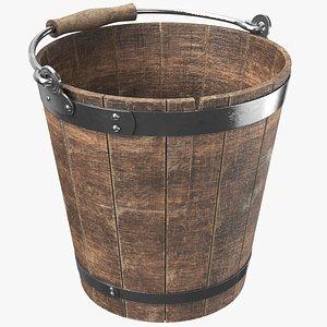 3D bucket old wooden
