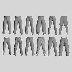 3D Male pants pack. Marvelous CLO 3D zprj projects. Genesis 8 avatar model