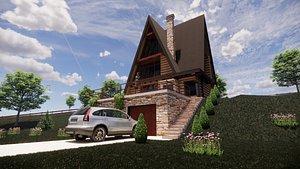 Tall clasic Log house Wood Cottage 3D model 3D model