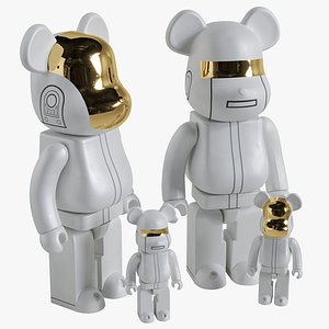 3D Bearbrick  Daft Punk White Suit model