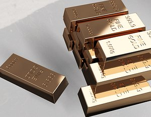 Fine Gold Bars 1000 gr 3D
