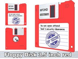 Floppy Disk 3 5 inch red 3D