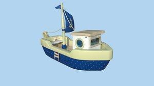 3D Cartoon Boat 06 Dark Blue - Low Poly Ship