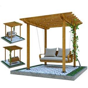 3D wooden pergola hanging sofa