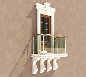 3D Balcony Glass Door