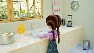 Cartoon girl kitchen girl cooking girl girl helping mother washing dishes Labor Day May Day Cleaning 3D model