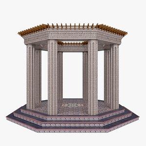3D classic eastern stone gazebo model
