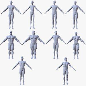 base mesh 10 male characters 3D model