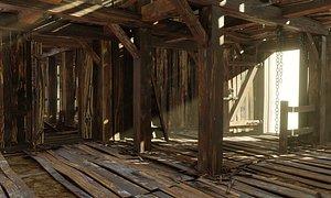 Old wooden shed 3D model