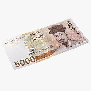 South Korean 5000 Won Banknote 3D