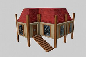 simple house red poor 3D model