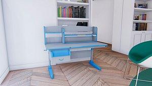 kid study desk 3D model