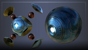 3D mobium spherical alien spacecraft