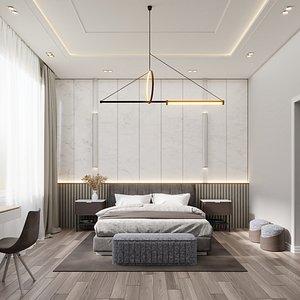 stylish bedroom interior - 3D