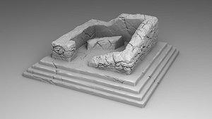 3D palace destroyed model