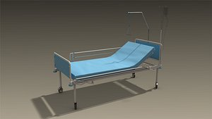 low-poly hospital bed 3D model