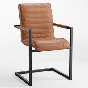 Sabina Leather Desk Chair 3D model