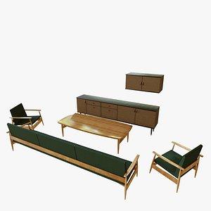 3D model vintage living room