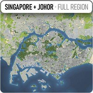 3D model Singapore - Johor Bahru
